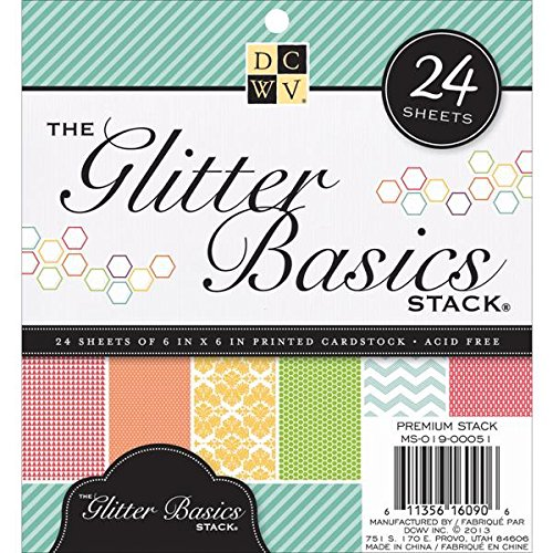 Diecuts With A View MS019051 Paper Stack, 6 by 6-Inch, Glitter Basics, (Basic Glitter Paper)