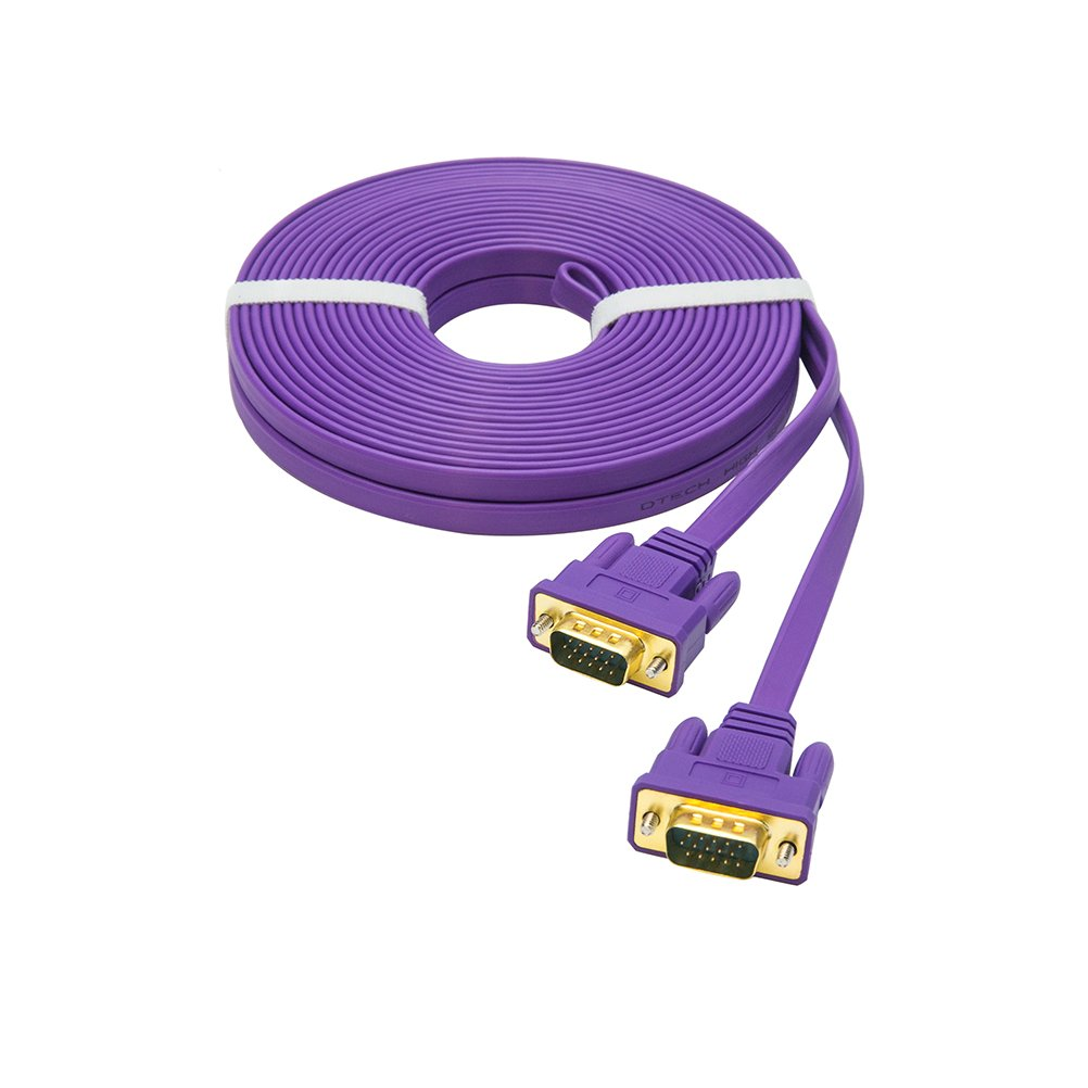 DTECH Ultra Slim Flat VGA to VGA Cable 33 Feet in Purple 10m