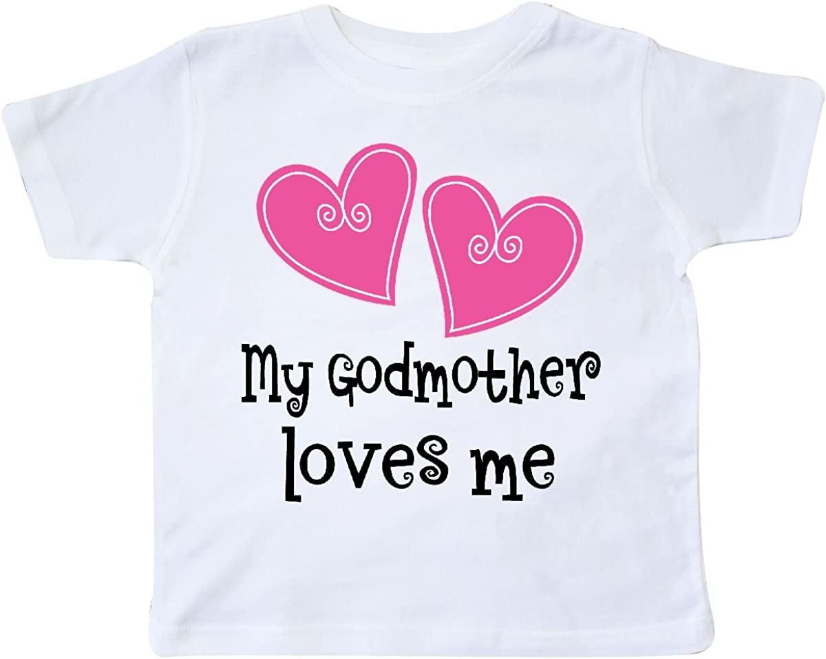inktastic My Godmother Loves Me Hearts Toddler T-Shirt