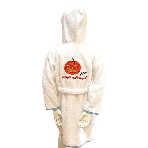 BgEurope Personalizada para niños Disfraz de Halloween con Capucha Albornoz - Blanco y Azul o Rosa, 100% algodón, White and Pink, 6 años: Amazon.es: Hogar