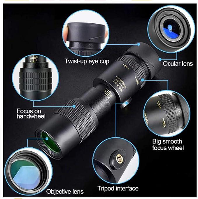 Gizayen 2020 New HD 4K 10-300X40mm Super Telephoto Zoom Monocular Telescope for Beach Travel Black