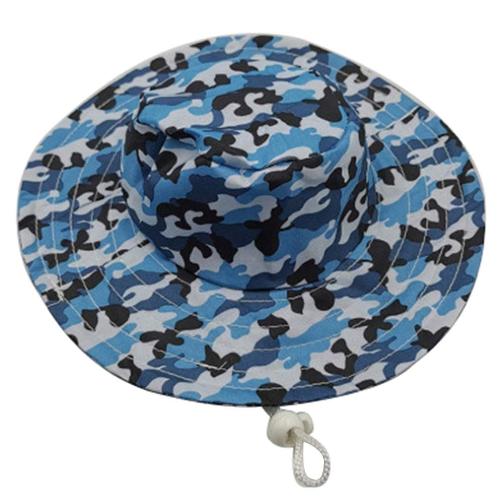 whatBYDs Dog Hat-Pet Baseball Cap/Dogs Sport Hat/Visor Cap with Ear Holes for Small Dogs,Mini Beach Party Adjustable Pet Dog Camouflage Hat Puppy Cap Buckle Sunbonnet Blue