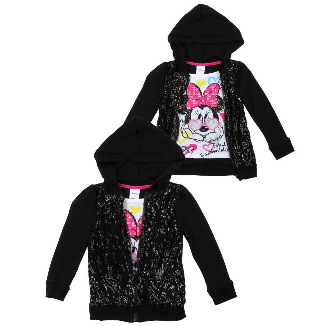 Disney Minnie Disney Junior Minnie Mouse Girl's Sequin 2-fer Zip Hoodie (2 Toddler)