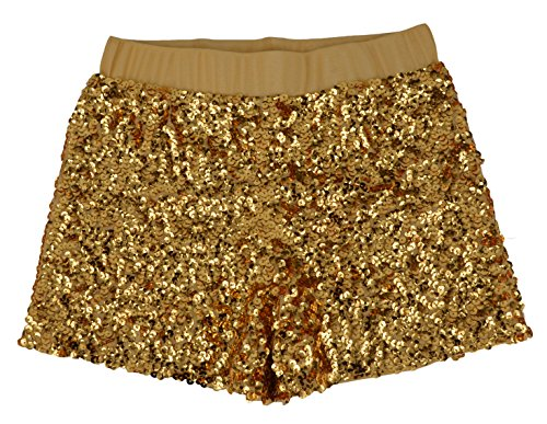 Women's Sexy sequined Glitter Shorts Pants Night Clubwear Mini Hot Shorts YK01 (One size, Gold) (Sequin Hot Pants)