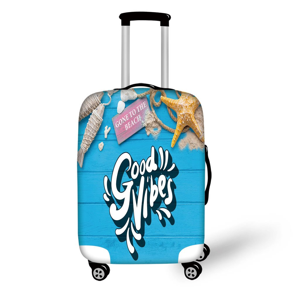 5906e3a871fd Amazon.com | Travel Luggage Cover Suitcase Protector, Good Vibes ...