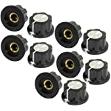 Uxcell a13041000ux0108 Silver Tone Top Rotary Knobs for 6 mm Dia. Shaft Potentiometer, 10 Piece, 19 mm, Black
