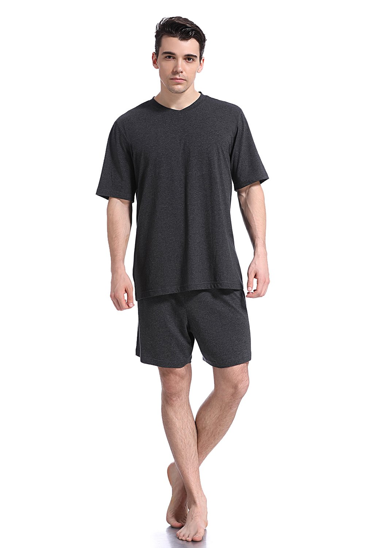Like2sea Summer Cotton Pajamas for Men, Short V-Neck PJ Set, Dark Gray, M