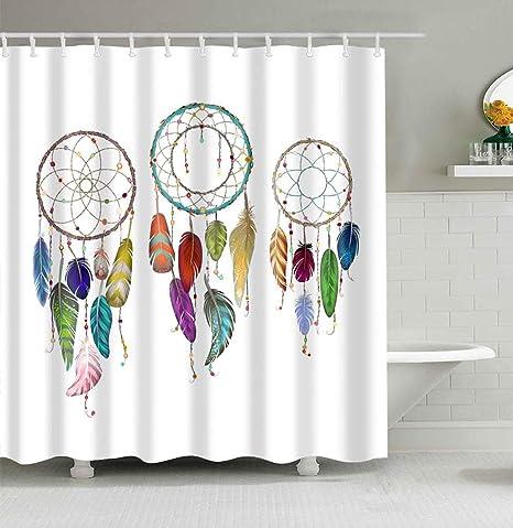 Mantto Dream Catcher Shower Curtain Waterproof Mildew Resistant Colorful Ethnic Dreamcatchers Native American Tribal Design