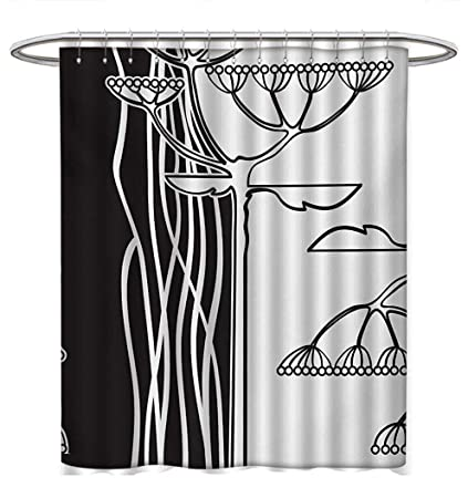 Anhuthree Black And White Shower Curtains Sets Bathroom Abstract Fennel Plants With Seeds Monochrome Garden Condiment