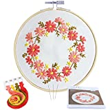 #7: Caydo Barberton Daizy Embroidery Starter Kit Cross Stitch Kit Including Embroidery Cloth with Printed Pattern for Beginner