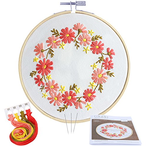 Love Counted Cross Stitch Pattern - Caydo Barberton Daizy Embroidery Starter Kit Cross Stitch Kit Including Embroidery Cloth with Printed Pattern for Beginner