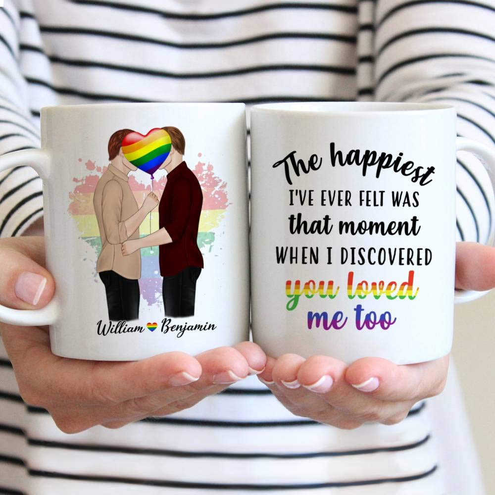 Personalized Couple Mug The Happiest That Moment I Discovered You Loved Me Too Gay Couple Kissing Gift Christmas Mug Customize Name Ceramic Cup, Hot and Cold Drink Home