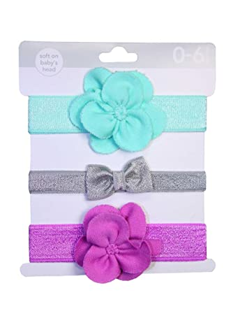 Amazon.com  Baby Girls 3 Pack of Rosette and Bow Soft Headband Headwraps by  Carters - Purple - Not Applicable  Clothing 3a07ac68982