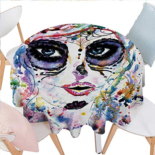 BlountDecor Sugar Skull Customized Round Tablecloth Halloween Girl with Sugar Skull Makeup Watercolor Painting Style Creepy Look Round Tablecloth D60 Multicolor