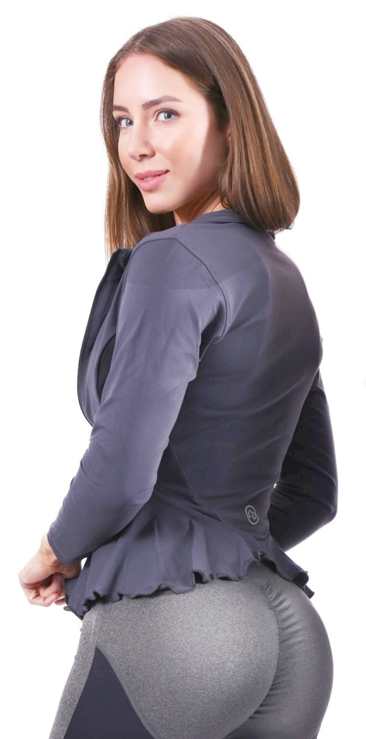 AB Butter Women's Sexy Hourglass Peplum Jacket for Fitness Gym Workout Training Running Yoga - Grey