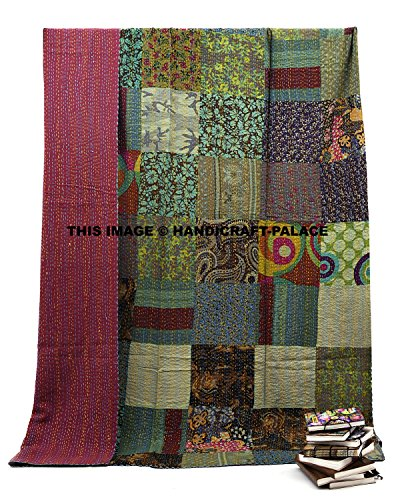 HANDICRAFT-PALACE Exclusive Bohemian Traditional Indian Patchwork Quilt Indian Twin Size Hippie Quilt Ralli Bohemian Blanket Throw Bedspread, Kantha Work Blanket