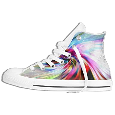 aeaf8d054d8eb Amazon.com: Rainbow Mix Line High Top Shoes Men'sComfortable Canvas ...