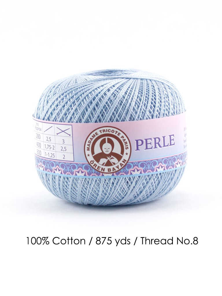 Perle 8/100% Cotton / 875 Yards/Thread No. 8 (Neon Blue)