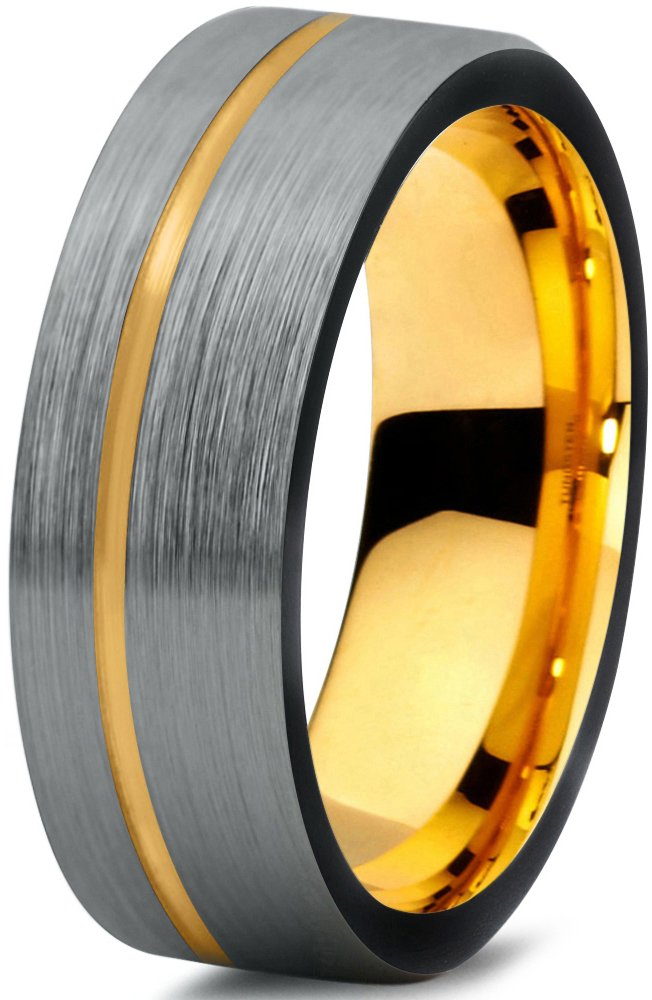 Tungsten Wedding Band Ring 7mm for Men Women Black & 18K Yellow Gold Plated Pipe Cut Brushed Polished