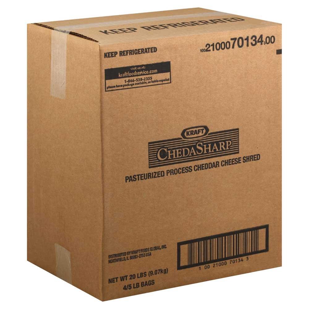 Kraft Shredded Sharp Cheddar Cheese - Bag, 5 Pound -- 4 per case.