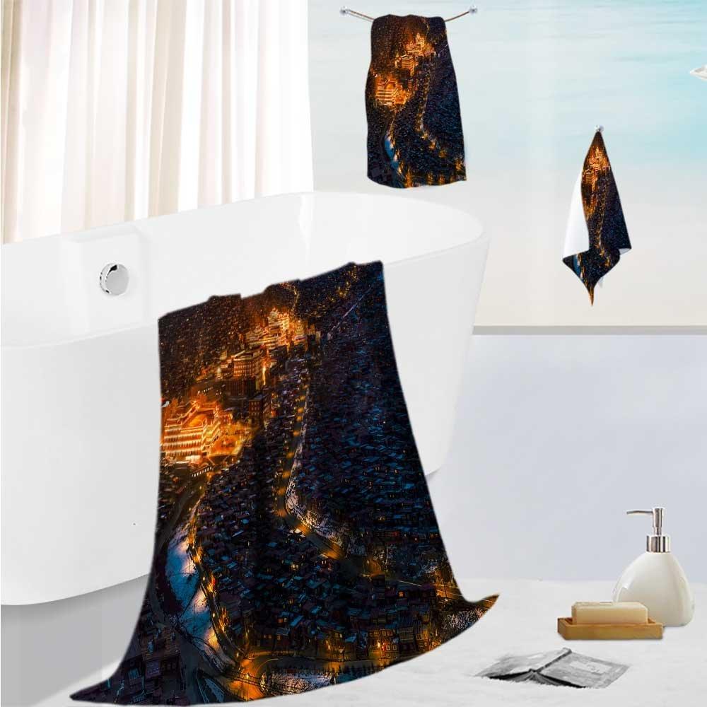AmaPark Toddler Bath Towel Set Larong Wuming's Buddhist College Ultra Softness & Absorbency 19.7''x19.7''-13.8''x27.6''-31.5''x63''
