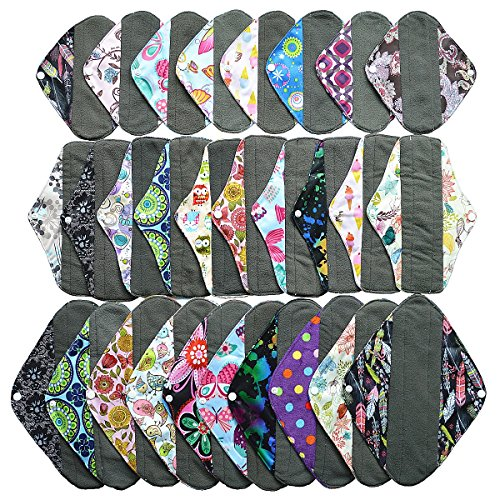 28 Pieces Set 8 of 8 Inch Pantyliner + 10 of 10 Inch Regular + 10 of 12 Inch Heavy Charcoal Bamboo Mama Cloth/ Menstrual Pads/ Reusable Sanitary Pads by Hibaby