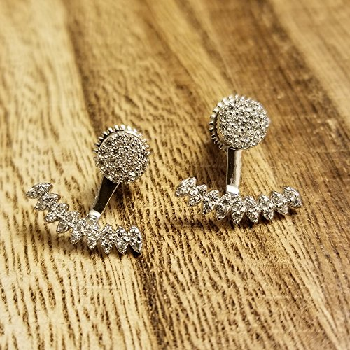 Platinum Plated 925 Sterling Silver Round Cubic Zirconia Round Disc Stud And Curved Bar Earring Jackets by Joy and Rachel (Image #4)