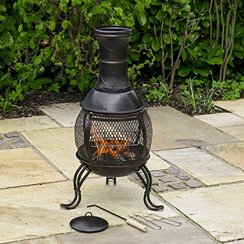 Kingfisher CHIM1A Outdoor Chiminea BBQ Heater, Black & Bronze Finish