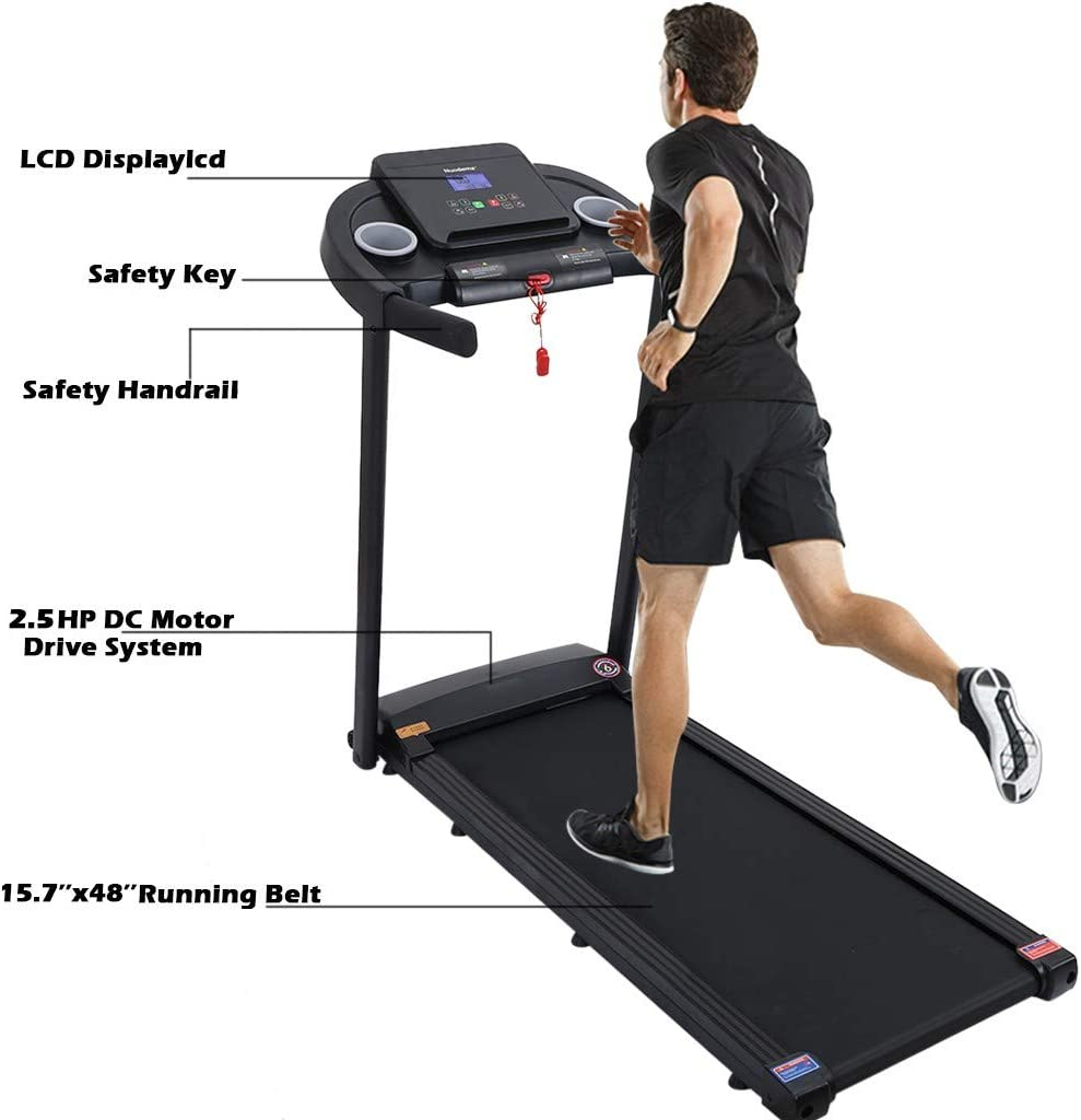 Run Fat into Fit Max 2.25 HP Folding Treadmills for Running and Walking Jogging Exercise at Home LCD Display Motorized Running Treadmill Speakers Bluetooth Treadmill 300+ Lb Capacity