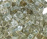 1/2'' Titanium Metallic / Platinum Reflective Fireglass 10 Pound Bag