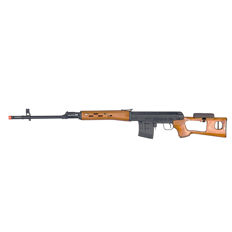 BBTac SVD Dragunov Wood Airsoft Sniper Rifle - Spring Powered Airsoft Gun Shooting 6mm BBs Pellet
