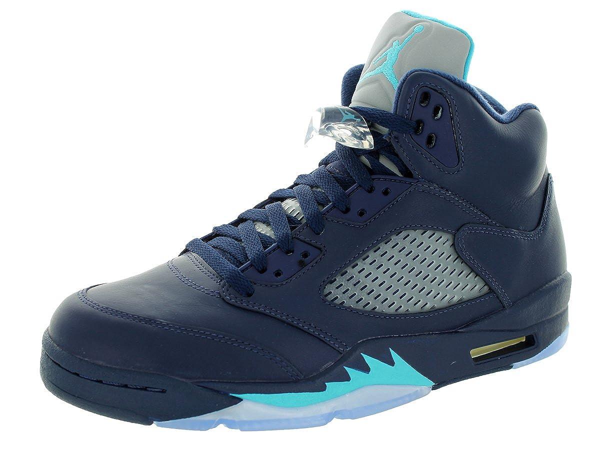 Midnight Navy Trqs bluee White Nike Men's Air Jordan 5 Retro Basketball shoes
