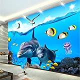 LHDLily 3D Wallpaper Mural Wall Sticker Thickening Custom Stereo Cartoon Dolphins Underwater Children 'S House Backdrop Wall 400cmX300cm