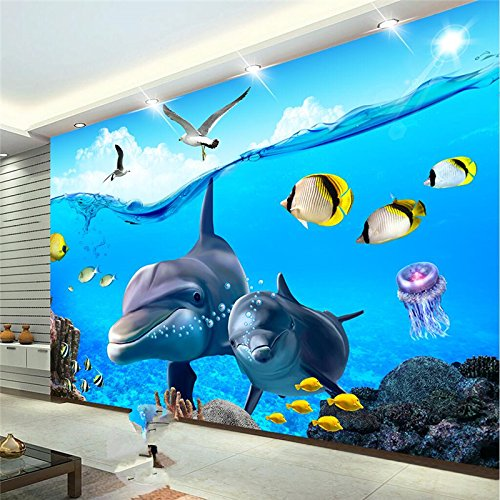 LHDLily 3D Wallpaper Mural Wall Sticker Thickening Custom Stereo Cartoon Dolphins Underwater Children 'S House Backdrop Wall 400cmX300cm by LHDLily