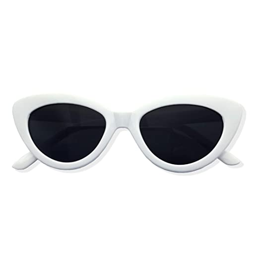 bdf7a5f76710b7 Image Unavailable. Image not available for. Color  Womens White Cat Eye  Retro Sunglasses ...