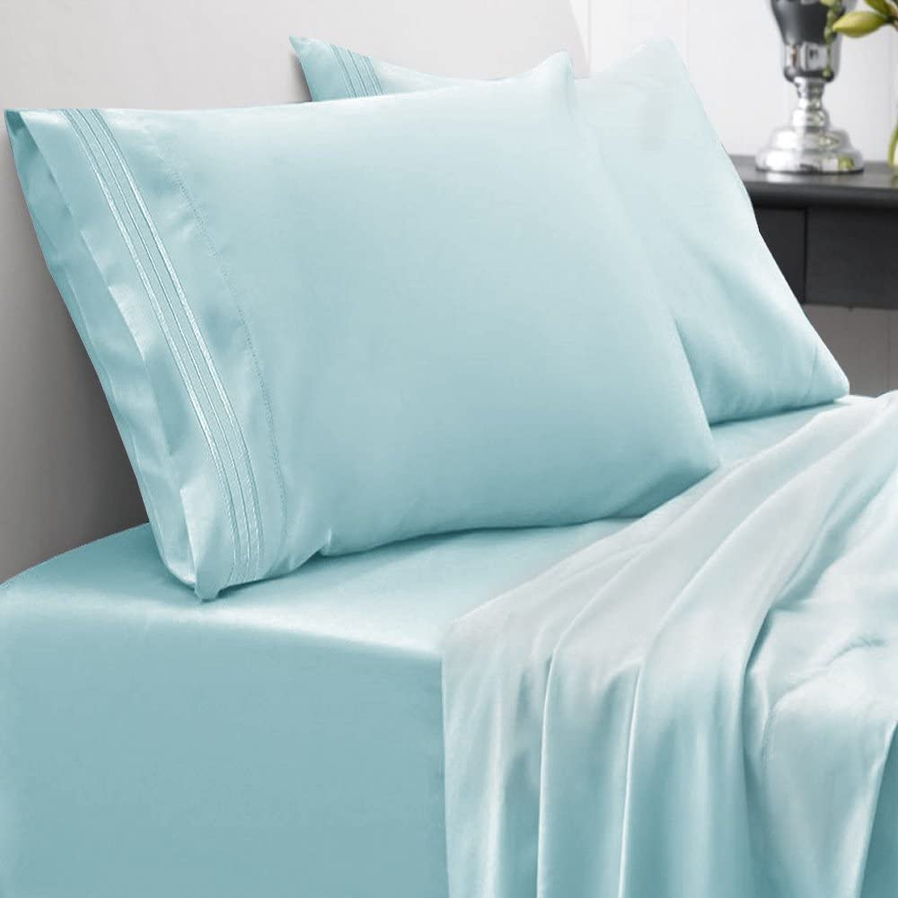 Sweet Home Collection 1500 Series Bed Sheet Set Brushed Microfiber 1500 Bedding - Wrinkle, Fade, Stain Resistant - Hypoallergenic 4 Piece Bed Sheet Set - King, Light Blue