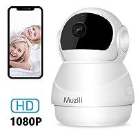 IP Camera Muzili 1080P HD WiFi Telecamera di Sorveglianza,Wireless Home Security Monitore con 360°Rotazione, 2-Way Audio/Zoom / Visione Notturna / Rilevazione Movimento, Allarme Telefono, Registrazione Scheda Micro SD per Smartphone per Bambini / Anziani/ Animali Domestici / Ufficio