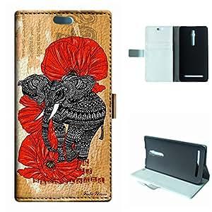 Zenfone 2 Case, SoloShow® New ASUS Zenfone 2 5.5 inch Case Original Tribal Aztec elephants Rainforest floral pattern Luxury Wallet PU Leather Case Flip Cover Built-in Card Slots (Elephant)