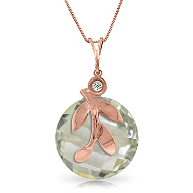 Amazon 14k 14 rose gold necklace with green amethyst pendant amazon 14k 14 rose gold necklace with green amethyst pendant jewelry aloadofball Image collections