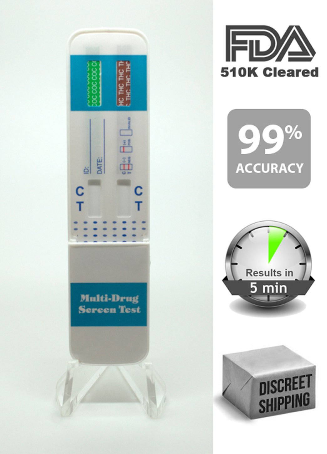 5 Pack of Instant 2 Panel Test Kits, Test for Cocaine and Marijuana, 99% Accuracy level, Easy to use.