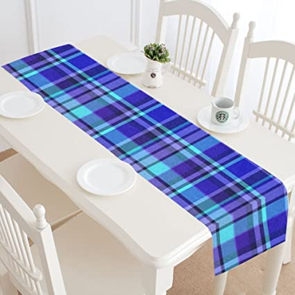 wece cotton linen holiday christmas plaid table runner 14 x 72 cloth placemat for