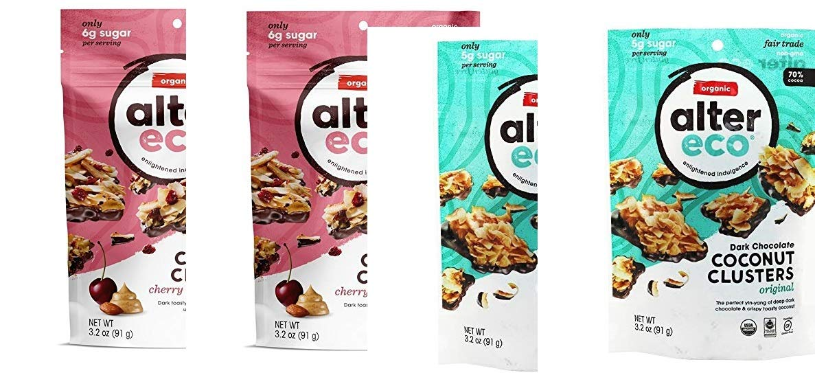 4 pack Alter Eco Organic Dark Chocolate Coconut Clusters Original & CHERRY & ALMOND BUTTER 2 each by alttereco