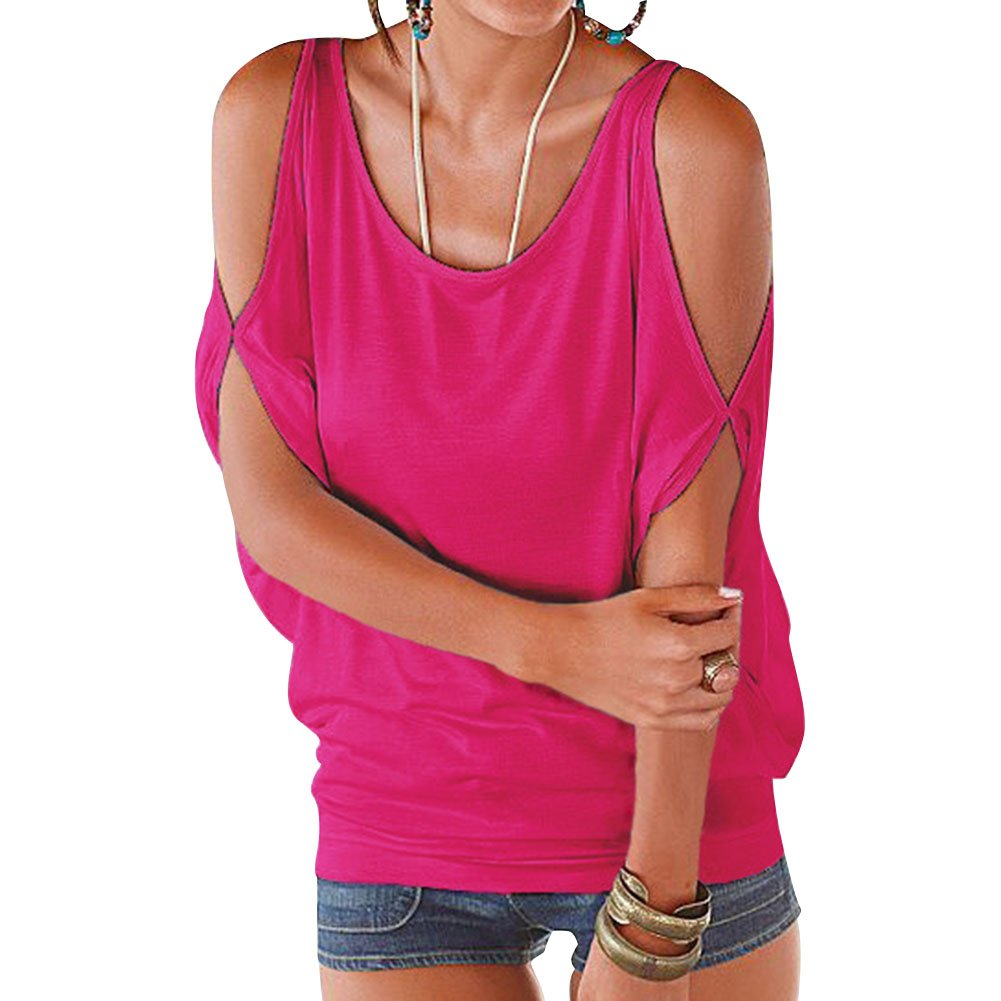 ieasysexy Women Strapless Bat Loose Wild T-shirt Casual Top Summer Casual Tunic Tops (Rose Red for S)