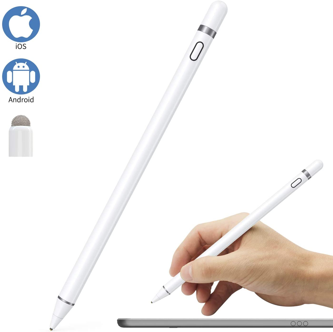 Stylus Pen Compatible for iOS and Android Touch Screens, Pen for iPad with Dual Touch Function,Rechargeable Stylus for Apple iPad/iPad Pro/Air/Mini/iPhone,Samsung/Android Smart Phone&Tablet Writing