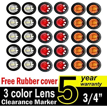 "30 Pcs TMH 3/4"" Inch Surface Mount 10 pcs Amber + 10 pcs Red + 10 pcs White LED Clearance Markers Bullet Marker lights, side marker lights, led marker lights, led trailer marker lights"