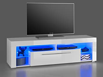Lifestyle4living Lowboard Tv Schrank Tv Board Fernsehschrank Tv Sideboard Tv Unterschrank Tv Kommode Hochglanz Led Beleuchtung Weiss Masse