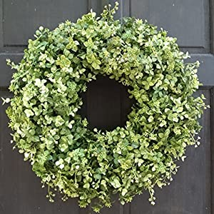 Year Round Boxwood and Eucalyptus Wreath for Front Door Decor; Summer Spring Artificial Greenery Decoration; Small - Extra Large Sizes; Indoor/Outdoor Use 60