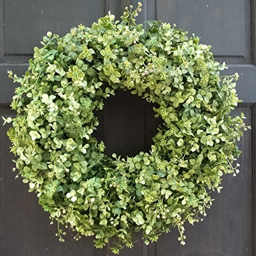 Merveilleux Artificial Boxwood And Eucalyptus Wreath For Year Round Front Door  Decoration; Small   Extra Large