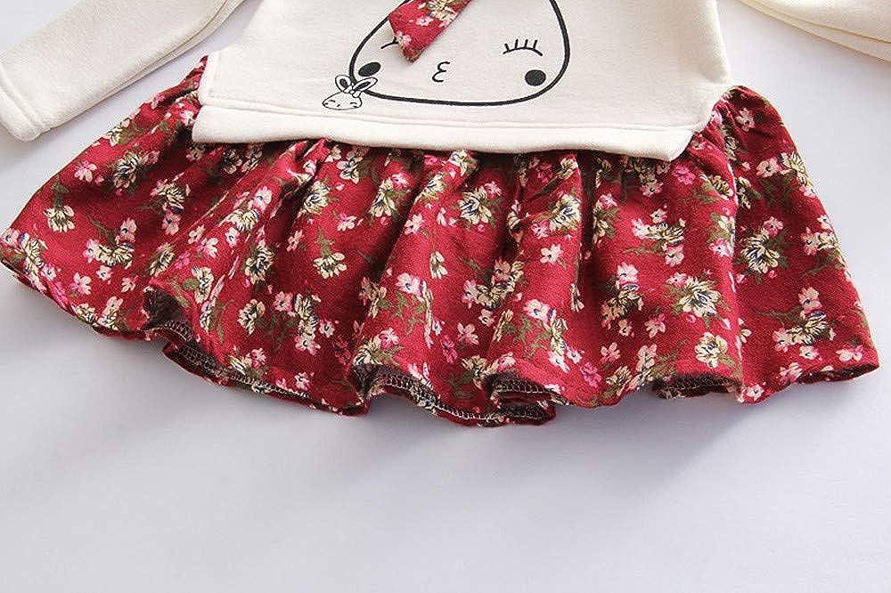 Proumy Vestido de Invierno para ni/ñas Vestido de ni/ña para ni/ños Vestido de Princesa Floral para ni/ña peque/ña Traje de Conejo de Dibujos Animados Disfraz de Fiesta para ni/ña 24 Meses-6 a/ños