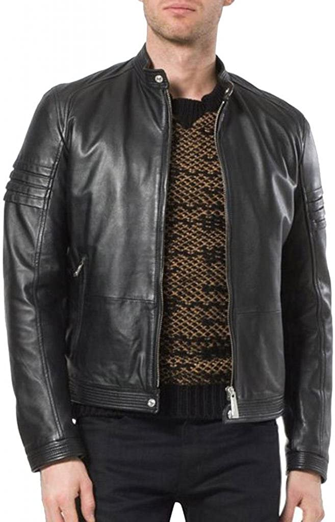 New Mens Biker Genuine Sheep Leather Slim Fit Bomber Party Jacket A339